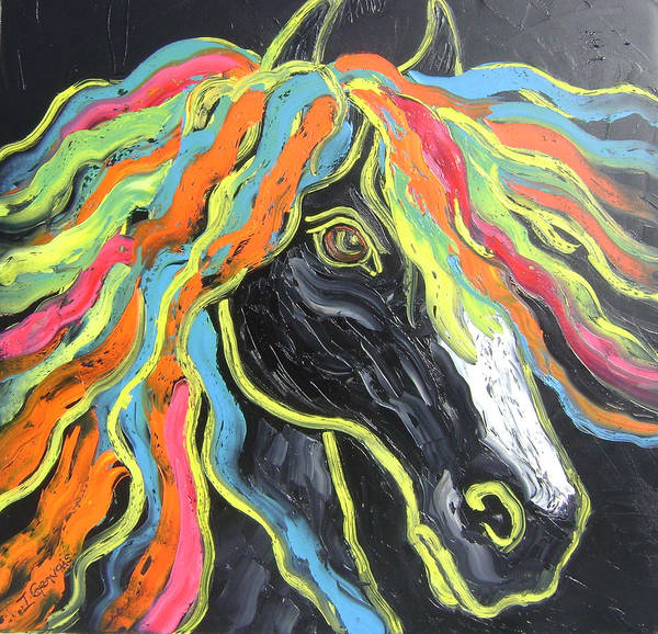 Isabelle Art Print featuring the painting Wild horse by Isabelle Gervais
