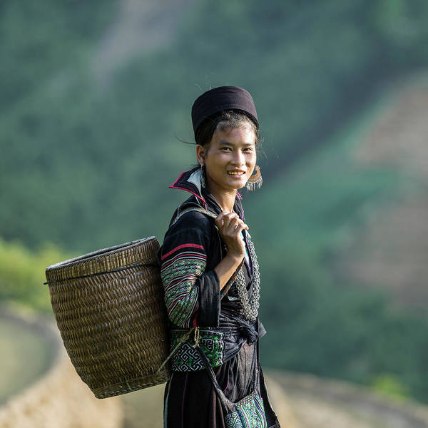 Farm Worker Art Print featuring the photograph Woman Of Black Hmong Hill Tribe Next To by Martin Puddy