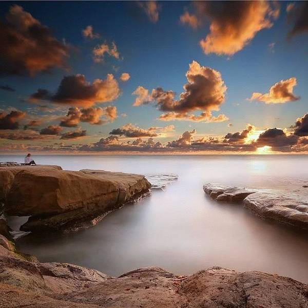 Art Print featuring the photograph Long Exposure Sunset At A San Diego by Larry Marshall