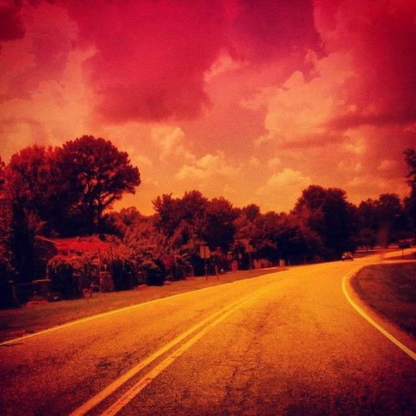 Pink Art Print featuring the photograph #driving #sky #clouds #road #summer by Katie Williams
