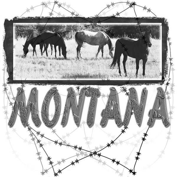 Montana Art Art Print featuring the digital art Montana Horse Design by Susan Kinney