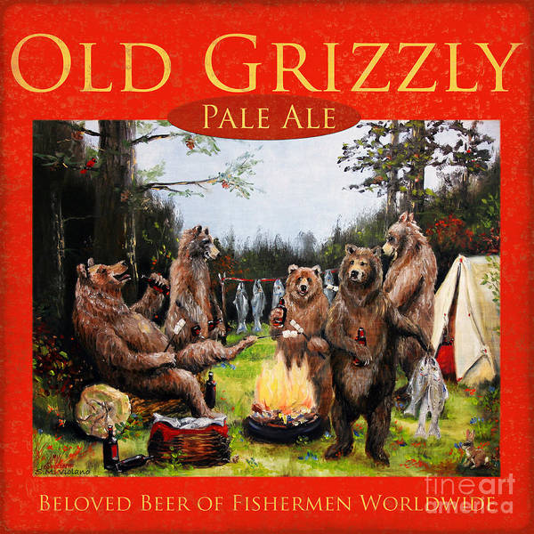 Grizzly Bear Art Print featuring the painting Old Grizzly Pale Ale by Stella Violano