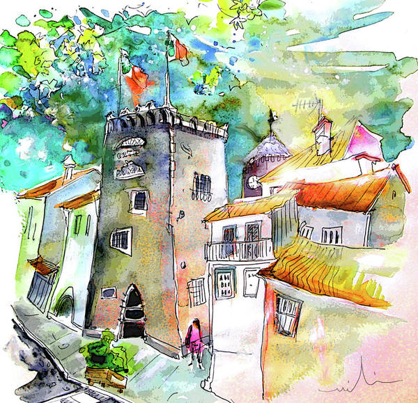 Portugal Art Print featuring the painting Tower in Ponte de Lima in Portugal by Miki De Goodaboom