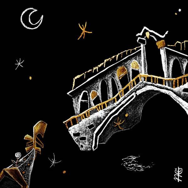 Spritz Art Print featuring the painting Venice Art T-shirt Design Rialto Nacasona Fashion Line - Arte Disegno Maglietta Venezia Italia by Arte Venezia
