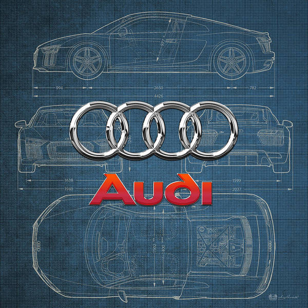 �wheels Of Fortune� Collection By Serge Averbukh Art Print featuring the photograph Audi 3 D Badge over 2016 Audi R 8 Blueprint by Serge Averbukh