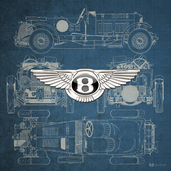 �wheels Of Fortune� By Serge Averbukh Art Print featuring the photograph Bentley - 3 D Badge over 1930 Bentley 4.5 Liter Blower Vintage Blueprint by Serge Averbukh