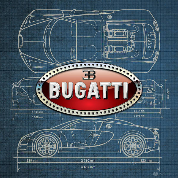 �wheels Of Fortune� By Serge Averbukh Art Print featuring the photograph Bugatti 3 D Badge over Bugatti Veyron Grand Sport Blueprint by Serge Averbukh
