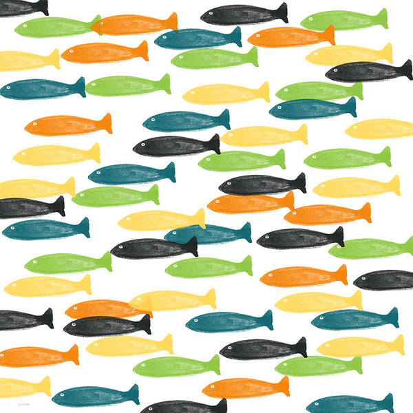 Fish Art Print featuring the painting Colorful Fish by Linda Woods