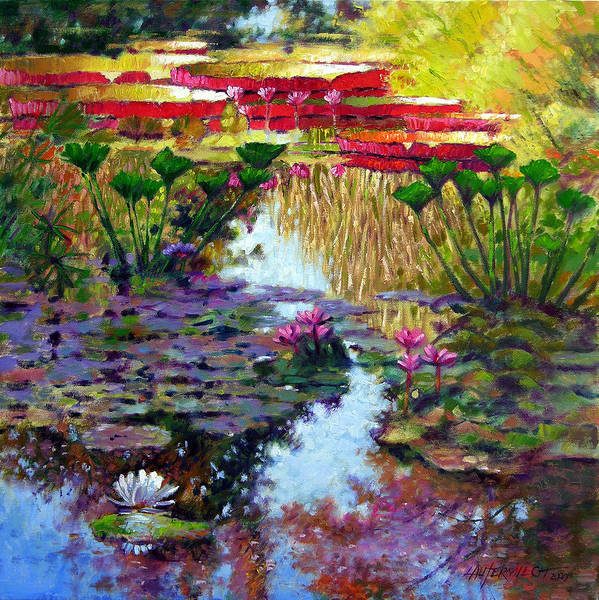 Garden Pond Art Print featuring the painting Impressions of Summer Colors by John Lautermilch