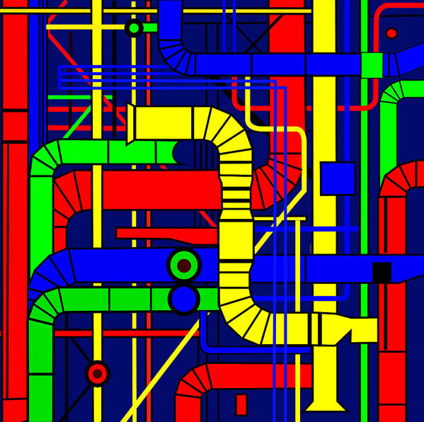 Centre Georges Pompidou Art Print featuring the digital art Inspired by the Centre Georges Pompidou by Asbjorn Lonvig