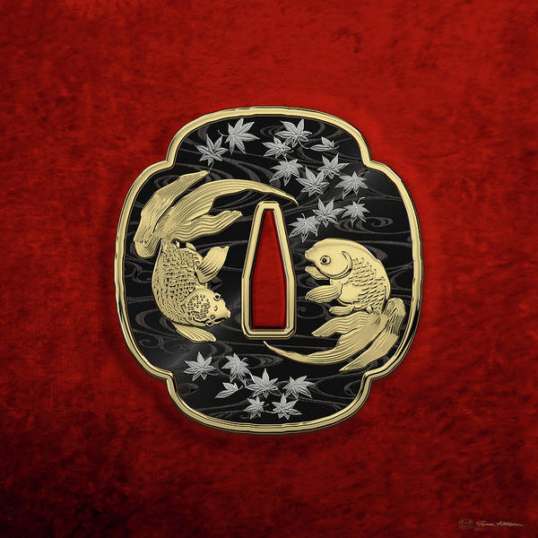 'treasures Of Japan' Collection By Serge Averbukh Art Print featuring the photograph Japanese Katana Tsuba - Twin Gold Fish on Black Steel over Red Velvet by Serge Averbukh