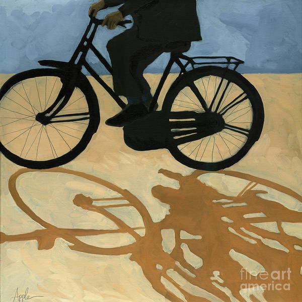 People Paintings Art Print featuring the painting Off to Work - painting by Linda Apple