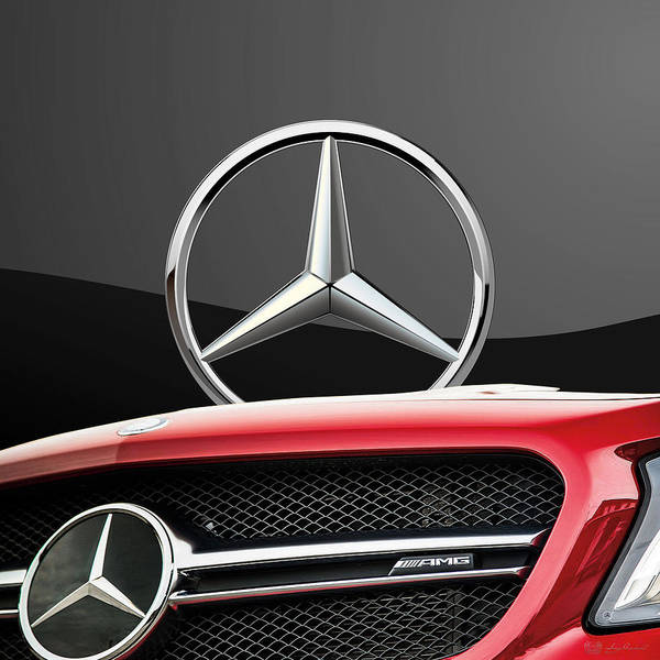 'auto Badges' By Serge Averbukh Art Print featuring the photograph Red Mercedes - Front Grill Ornament and 3 D Badge on Black by Serge Averbukh