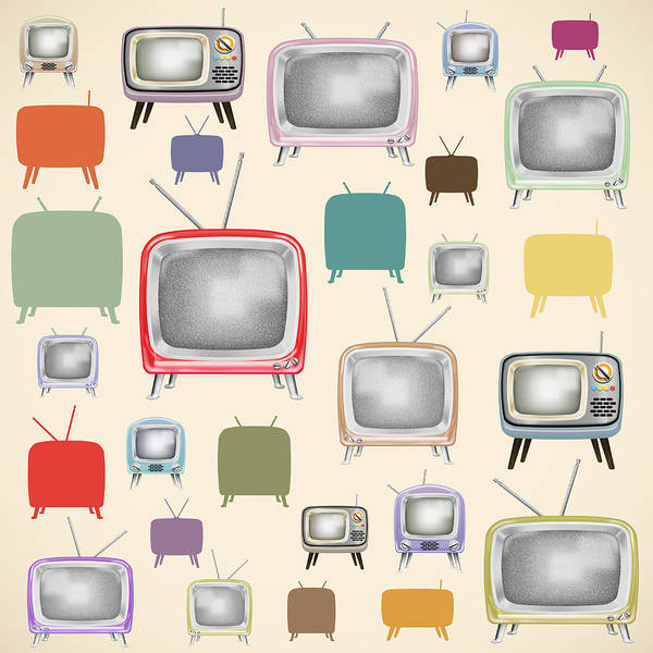 Analog Art Print featuring the painting retro TV pattern by Setsiri Silapasuwanchai