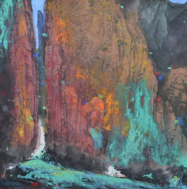 Landscape Art Print featuring the painting Tai Hang .a Gleam Of Sky by Zi De Chen