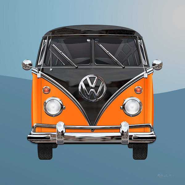 'volkswagen Type 2' Collection By Serge Averbukh Art Print featuring the photograph Volkswagen Type 2 - Black and Orange Volkswagen T 1 Samba Bus over Blue by Serge Averbukh