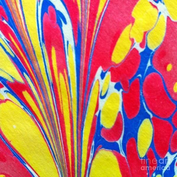 Abstract Art Print featuring the painting Water Marbling Art, Ebru by Dilan C