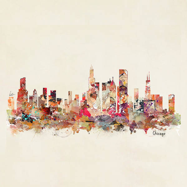 Chicago City Sklyine Art Print featuring the painting Chicago Illinois Skyline by Bri Buckley