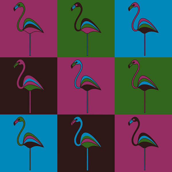 Carnival At The Zoo Art Print featuring the pyrography 9 Flamingos by Asbjorn Lonvig