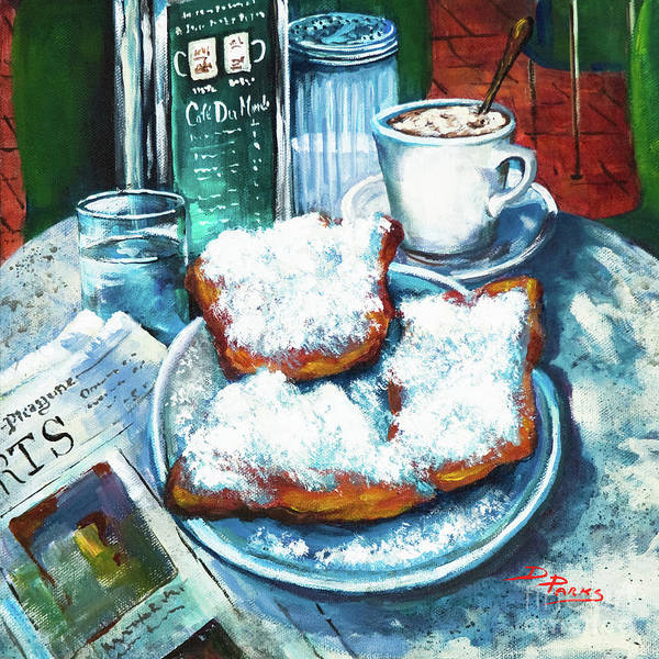 New Orleans Food Art Print featuring the painting A Beignet Morning by Dianne Parks