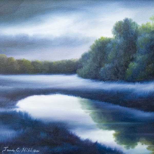 Nature; Lake; Sunset; Sunrise; Serene; Forest; Trees; Water; Ripples; Clearing; Lagoon; James Christopher Hill; Jameshillgallery.com; Foliage; Sky; Realism; Oils; Green; Tree; Blue; Pink; Pond; Lake Art Print featuring the painting A Day In The Life 4 by James Christopher Hill