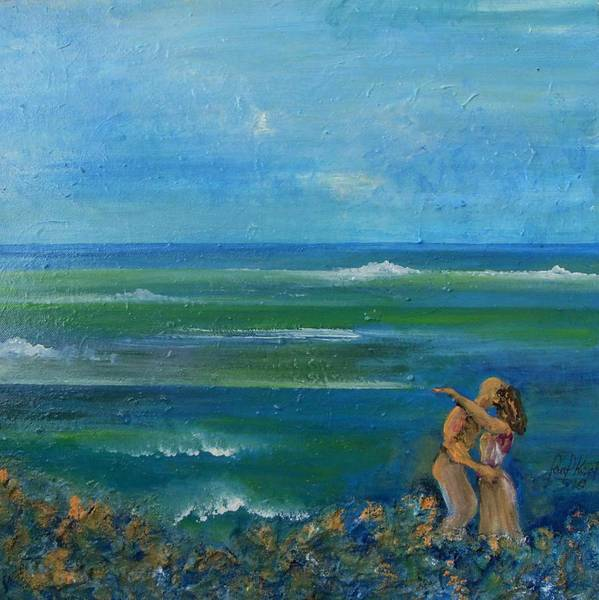 Art Print featuring the painting A kiss in the ocean by Carol P Kingsley