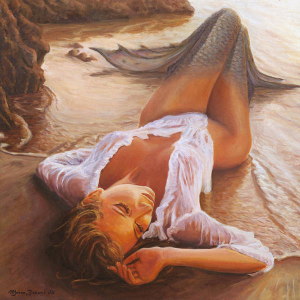 Mermaid Siren Sensual Sunset Sea Water Lady Sexy Art Print featuring the painting A Mermaid In The Sunset - Love Is Seduction by Marco Busoni