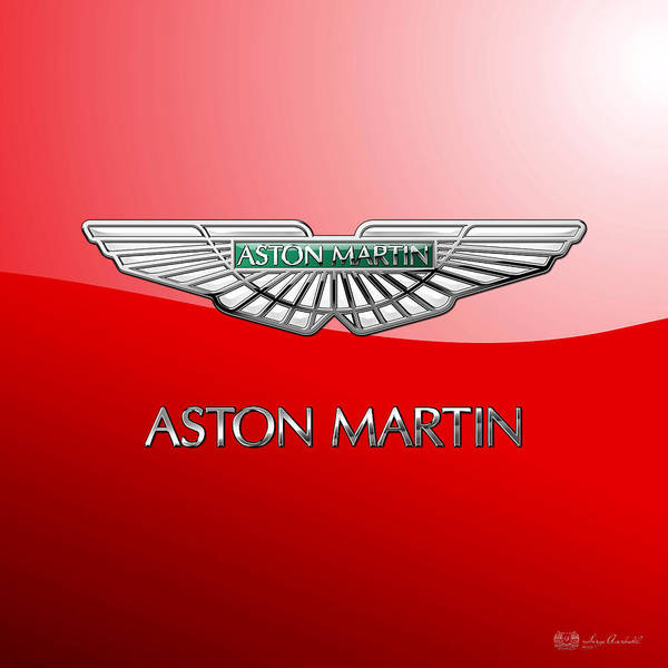 Wheels Of Fortune� Collection By Serge Averbukh Art Print featuring the photograph Aston Martin - 3 D Badge on Red by Serge Averbukh