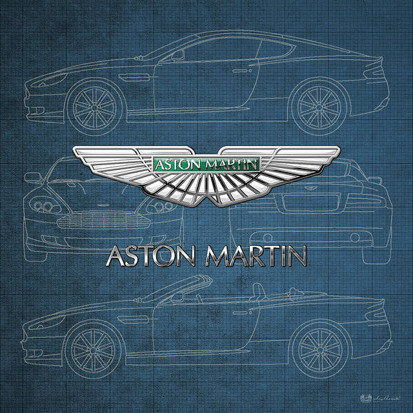 Wheels Of Fortune By Serge Averbukh Art Print featuring the photograph Aston Martin 3 D Badge over Aston Martin D B 9 Blueprint by Serge Averbukh