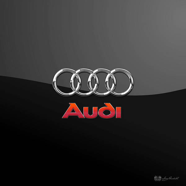 'wheels Of Fortune' Collection By Serge Averbukh Art Print featuring the photograph Audi 3 D Badge on Black by Serge Averbukh