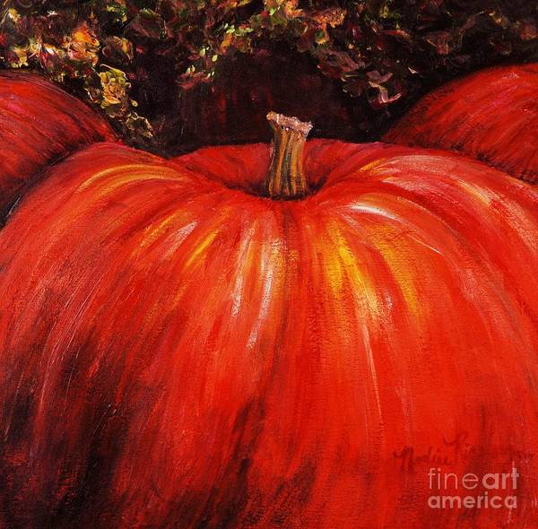 Orange Art Print featuring the painting Autumn Pumpkins by Nadine Rippelmeyer