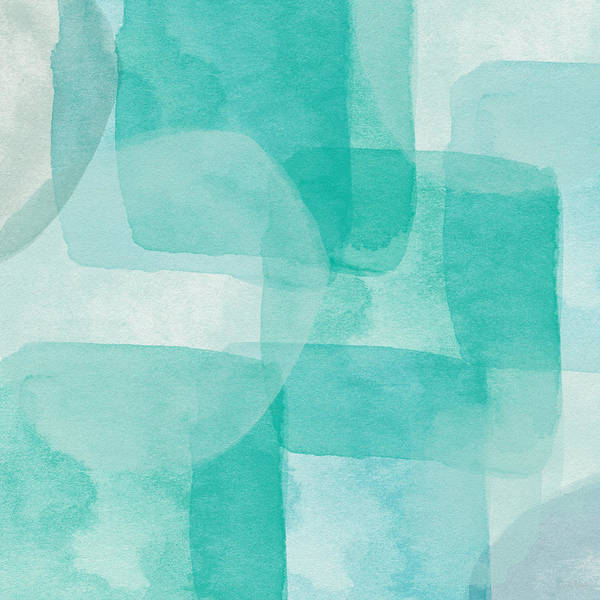 Abstract Art Print featuring the painting Beach Glass- Abstract Art by Linda Woods by Linda Woods