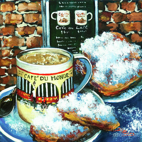 New Orleans Art Art Print featuring the painting Beignets and Cafe au Lait by Dianne Parks