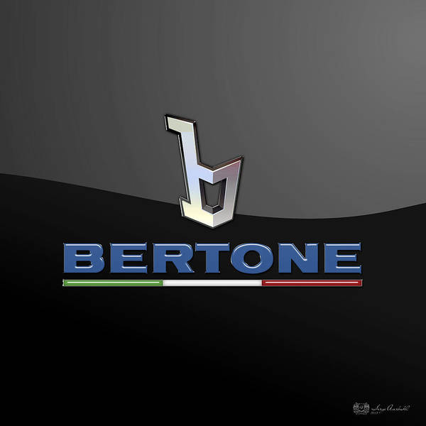 'auto Badges' Collection By Serge Averbukh Art Print featuring the photograph Bertone - 3 D Badge On Black by Serge Averbukh