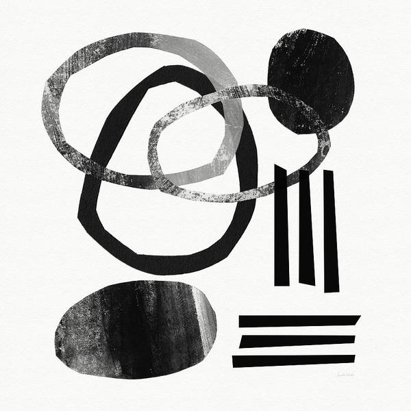 Black And White Abstract Art Print featuring the mixed media Black and White- Abstract Art by Linda Woods