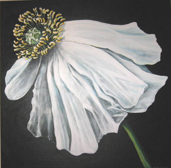 Poppy Art Print featuring the painting Blown in the Wind by Eileen Kasprick