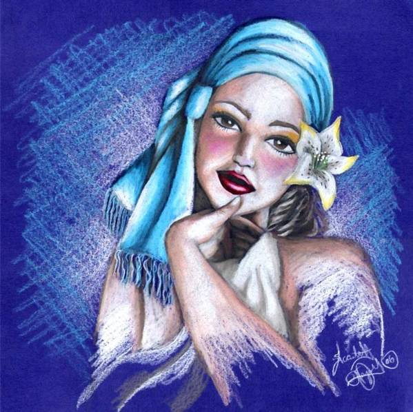 Portrait Art Print featuring the drawing Blues by Scarlett Royal