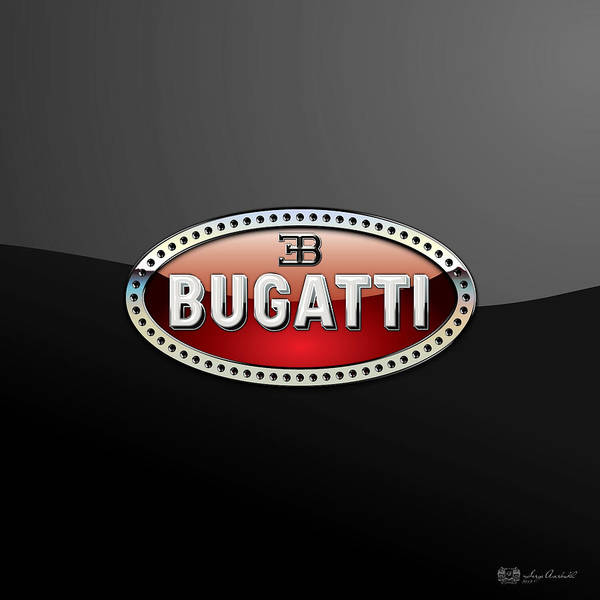 �wheels Of Fortune� Collection By Serge Averbukh Art Print featuring the photograph Bugatti - 3 D Badge On Black by Serge Averbukh