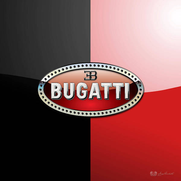 Wheels Of Fortune By Serge Averbukh Art Print featuring the photograph Bugatti 3 D Badge On Red And Black by Serge Averbukh