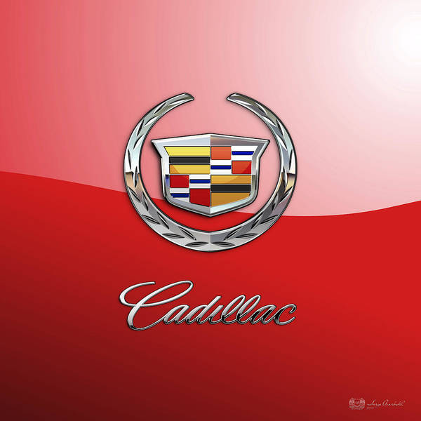 �wheels Of Fortune� Collection By Serge Averbukh Art Print featuring the photograph Cadillac - 3 D Badge on Red by Serge Averbukh