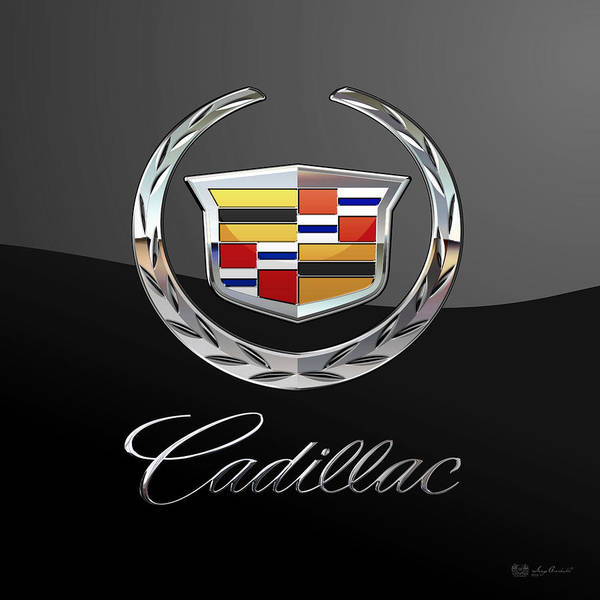 'wheels Of Fortune' By Serge Averbukh Art Print featuring the photograph Cadillac - 3 D Badge On Black by Serge Averbukh