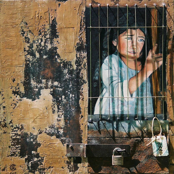 Asian Girl Art Print featuring the painting Captive by Teresa Carter