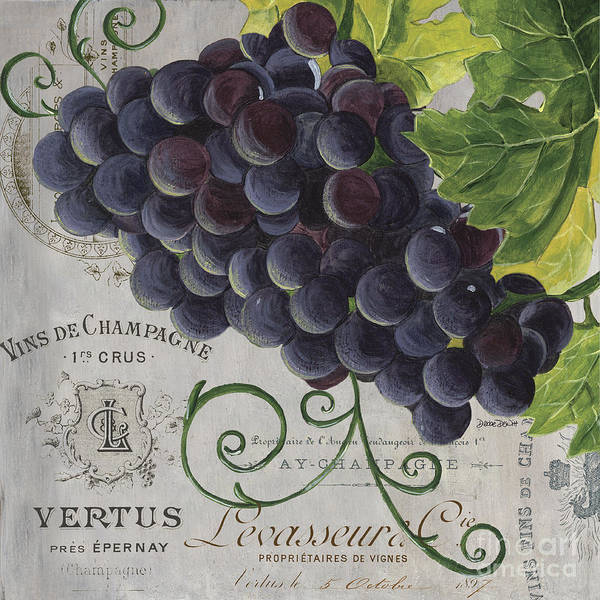 Grapes Art Print featuring the painting Vins de Champagne 2 by Debbie DeWitt