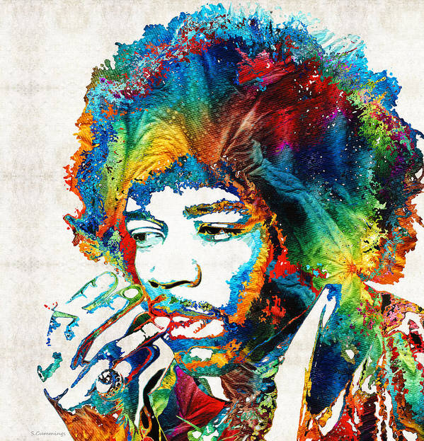 Jimi Hendrix Art Print featuring the painting Colorful Haze - Jimi Hendrix Tribute by Sharon Cummings