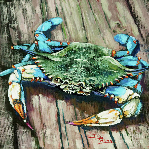 Crab Art Print featuring the painting Crabby Blue by Dianne Parks