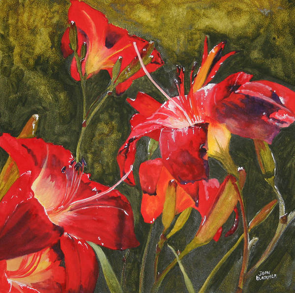 Red Art Print featuring the painting Crimson Light by Jean Blackmer