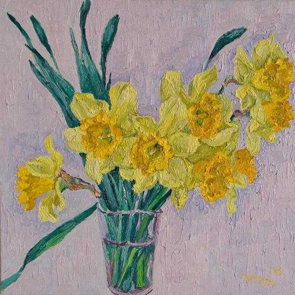 Daffodils Art Print featuring the painting Daffodils by Vitali Komarov