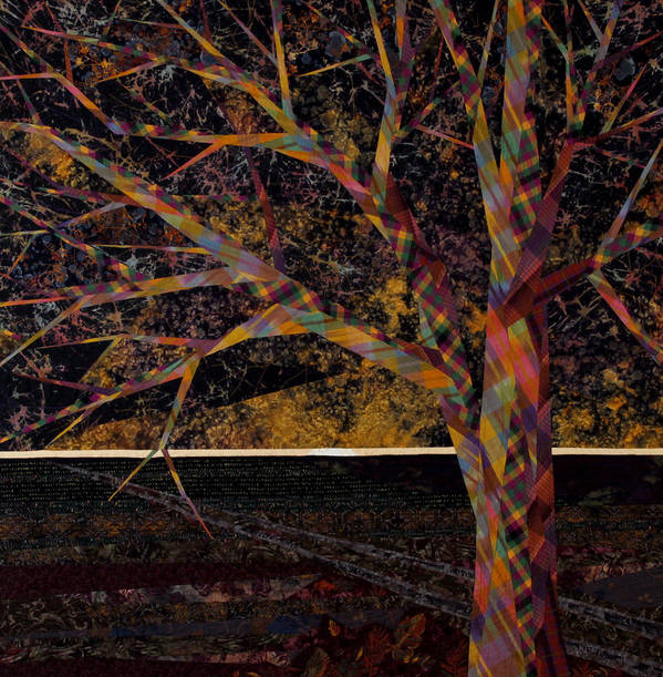 Landscape Art Print featuring the tapestry - textile Dawn by Linda Beach