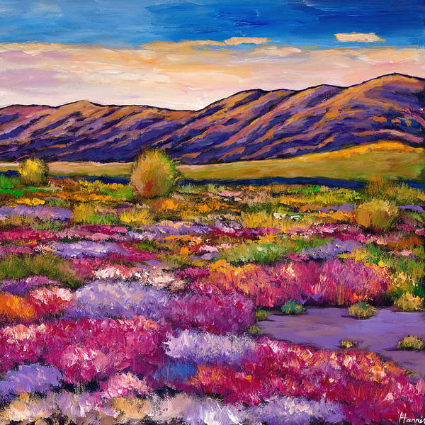 Arizona Art Print featuring the painting Desert in Bloom by Johnathan Harris