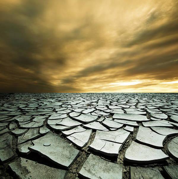 Desert Art Print featuring the photograph Dry Lowlands by Zarija Pavikevik